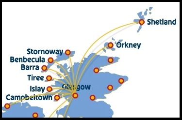 Loganair Route Map of Scottish Islands from Glasgow